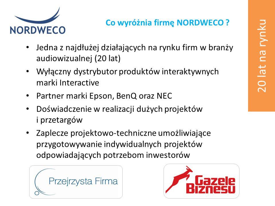 Jedna z najdłużej działających na rynku firm w branży audiowizualnej (20 lat) Wyłączny dystrybutor produktów interaktywnych marki Interactive Partner marki Epson, BenQ oraz NEC Doświadczenie w realizacji dużych projektów i przetargów Zaplecze projektowo-techniczne umożliwiające przygotowywanie indywidualnych projektów odpowiadających potrzebom inwestorów Co wyróżnia firmę NORDWECO .