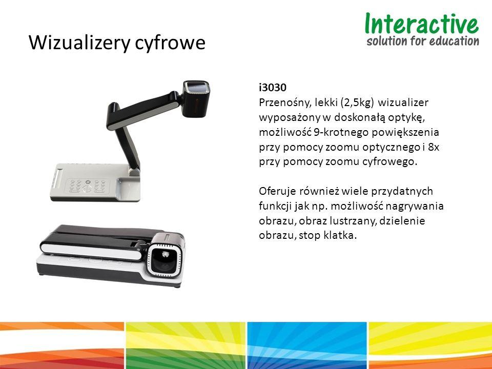 Wizualizery cyfrowe i3030 Przenośny, lekki (2,5kg) wizualizer wyposażony w doskonałą optykę, możliwość 9-krotnego powiększenia przy pomocy zoomu optycznego i 8x przy pomocy zoomu cyfrowego.