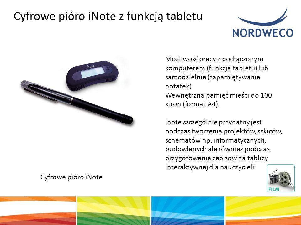Cyfrowe pióro iNote Możliwość pracy z podłączonym komputerem (funkcja tabletu) lub samodzielnie (zapamiętywanie notatek). Wewnętrzna pamięć mieści do
