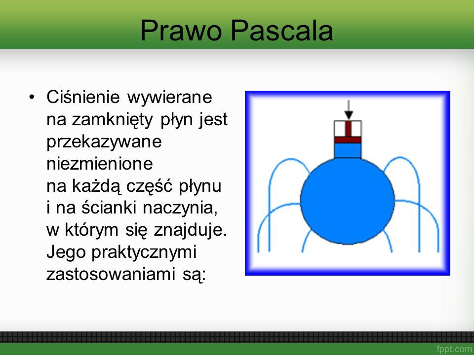 Ciśnienie wywierane na zamknięty płyn jest przekazywane niezmienione na każdą część płynu i na ścianki naczynia, w którym się znajduje. Jego praktyczn