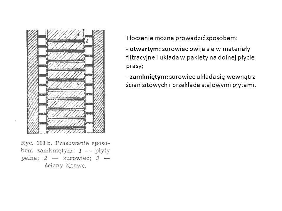 Tłoczenie można prowadzić sposobem: - otwartym: surowiec owija się w materiały filtracyjne i układa w pakiety na dolnej płycie prasy; - zamkniętym: surowiec układa się wewnątrz ścian sitowych i przekłada stalowymi płytami.