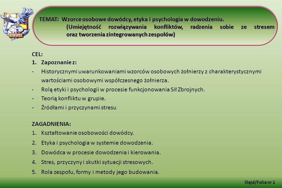 TEMAT: Wzorce osobowe dowódcy, etyka i psychologia w dowodzeniu. (Umiejętność rozwiązywania konfliktów, radzenia sobie ze stresem oraz tworzenia zinte
