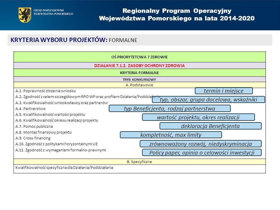 Regionalny Program Operacyjny Województwa Pomorskiego na lata 2014-2020 KRYTERIA WYBORU PROJEKTÓW: FORMALNE OŚ PRIORYTETOWA 7 ZDROWIE DZIAŁANIE 7.1.2.