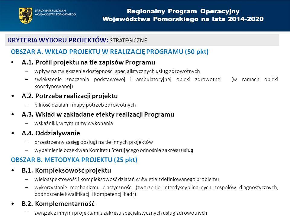 OBSZAR A. WKŁAD PROJEKTU W REALIZACJĘ PROGRAMU (50 pkt) A.1. Profil projektu na tle zapisów Programu –wpływ na zwiększenie dostępności specjalistyczny