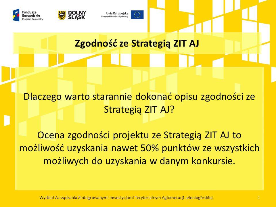 Zgodność ze Strategią ZIT AJ Dlaczego warto starannie dokonać opisu zgodności ze Strategią ZIT AJ? Ocena zgodności projektu ze Strategią ZIT AJ to moż