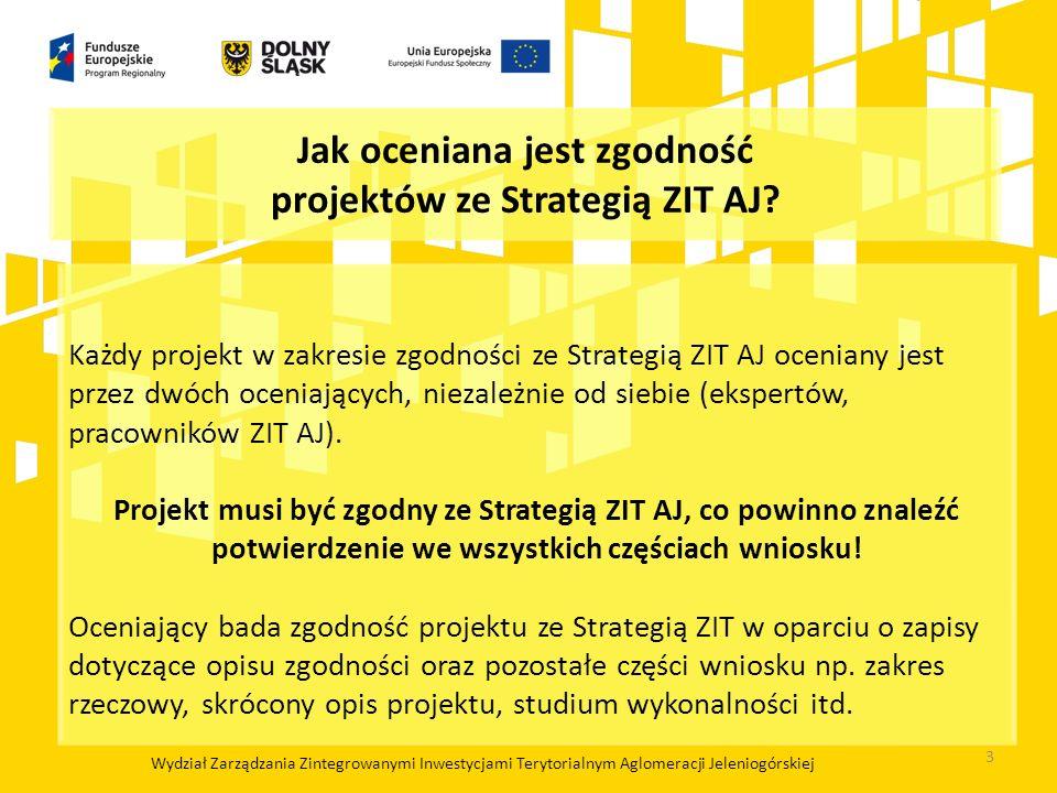 Jak oceniana jest zgodność projektów ze Strategią ZIT AJ? Każdy projekt w zakresie zgodności ze Strategią ZIT AJ oceniany jest przez dwóch oceniającyc