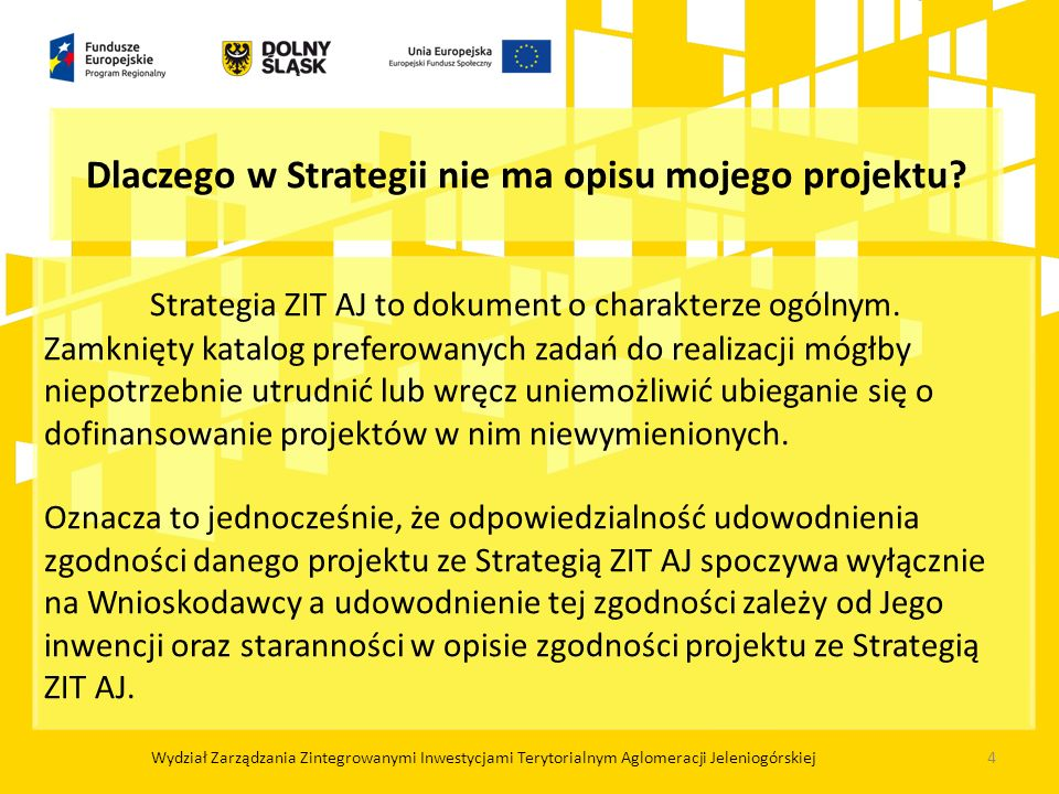 Strategia ZIT AJ to dokument o charakterze ogólnym.