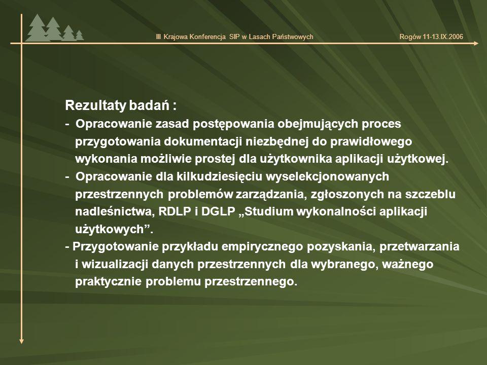 """Zakres merytoryczny 52 wyselekcjonowanych problemów zarządzania, dla których opracowano """"Studium wykonalności aplikacji użytkowych Poziom nadleśnictwa: - planowanie hodowlane 4 - użytkowanie lasów wielofunkcyjnych 10 - ochrona ekosystemów leśnych 5 - gospodarka łowiecka 4 - gospodarowanie wodą w lasach 2 - powiązania z gospodarką przestrzenną 3 - sprzedaż drewna 1 III Krajowa Konferencja SIP w Lasach Państwowych Rogów 11-13.IX.2006"""