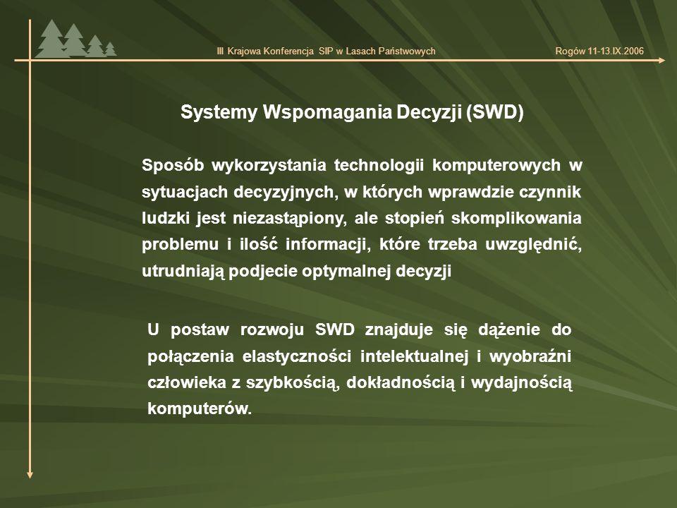 Systemy Wspomagania Decyzji (SWD) Sposób wykorzystania technologii komputerowych w sytuacjach decyzyjnych, w których wprawdzie czynnik ludzki jest niezastąpiony, ale stopień skomplikowania problemu i ilość informacji, które trzeba uwzględnić, utrudniają podjecie optymalnej decyzji U postaw rozwoju SWD znajduje się dążenie do połączenia elastyczności intelektualnej i wyobraźni człowieka z szybkością, dokładnością i wydajnością komputerów.