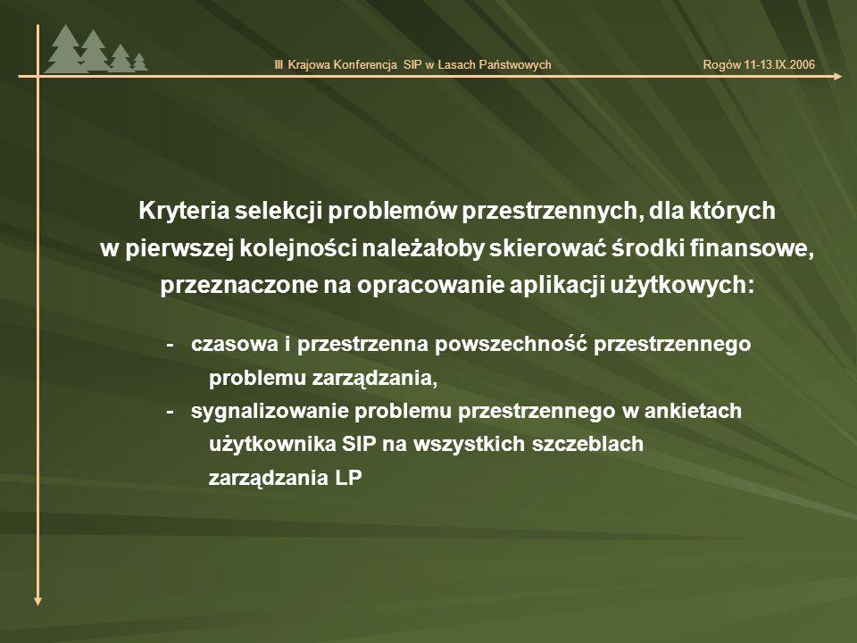 - czasowa i przestrzenna powszechność przestrzennego problemu zarządzania, - sygnalizowanie problemu przestrzennego w ankietach użytkownika SIP na wszystkich szczeblach zarządzania LP Kryteria selekcji problemów przestrzennych, dla których w pierwszej kolejności należałoby skierować środki finansowe, przeznaczone na opracowanie aplikacji użytkowych: III Krajowa Konferencja SIP w Lasach Państwowych Rogów 11-13.IX.2006