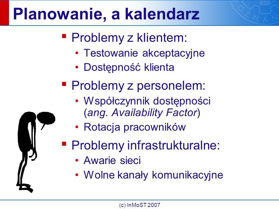 (c) InMoST 2007 Planowanie, a kalendarz ▪ Problemy z klientem: Testowanie akceptacyjne Dostępność klienta ▪ Problemy z personelem: Współczynnik dostępności (ang.