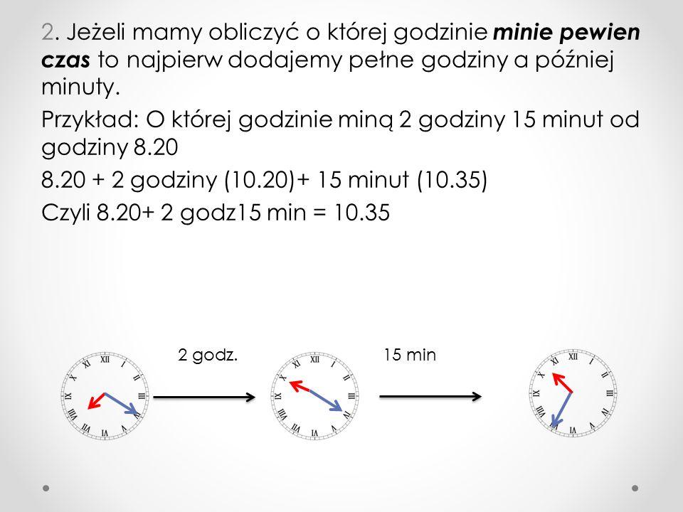 Jeśli mamy obliczyć ile czasu upłynęło od godziny X do godziny Y to : 1.Do godziny X dodajemy tyle minut by była pełna godzina.