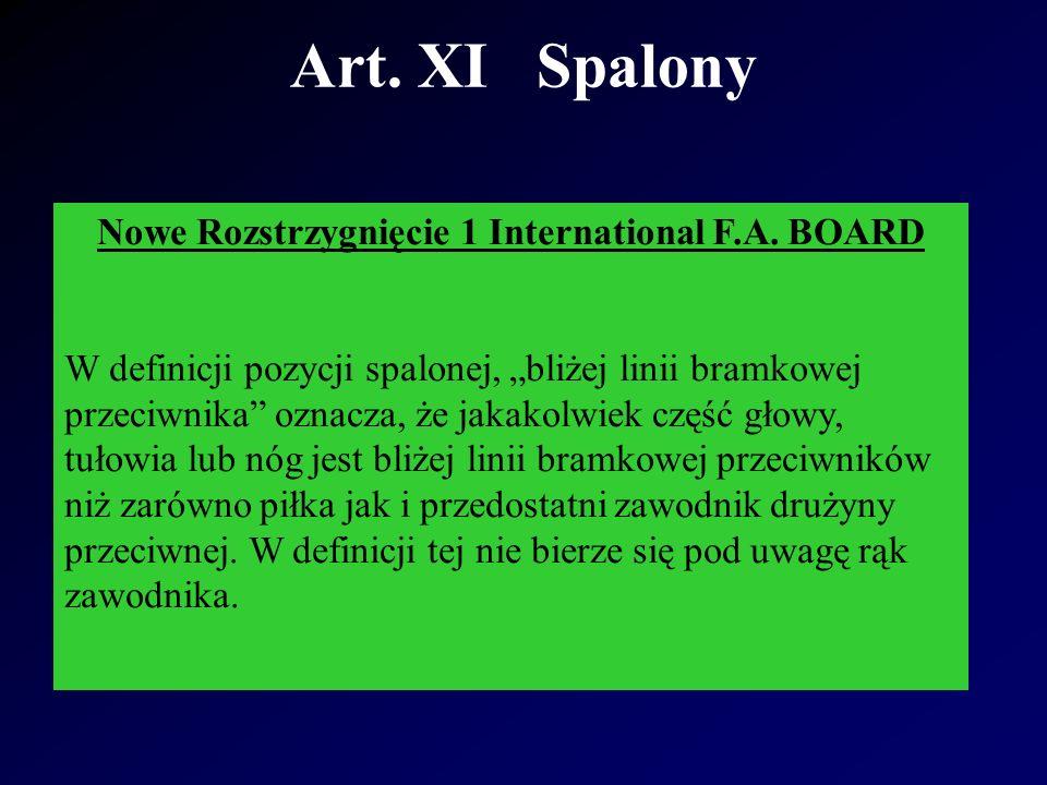 Art. XI Spalony Nowe Rozstrzygnięcie 1 International F.A.