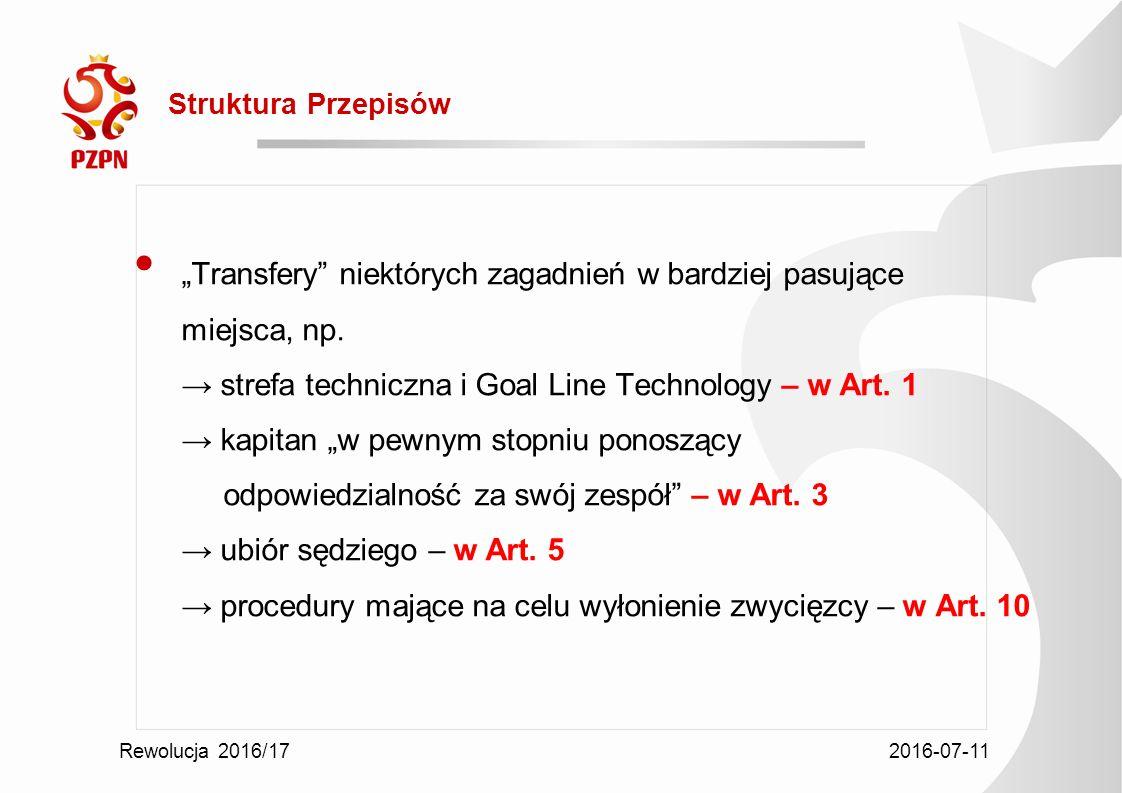 """2016-07-11 Rewolucja 2016/17 Struktura Przepisów """"Transfery niektórych zagadnień w bardziej pasujące miejsca, np."""