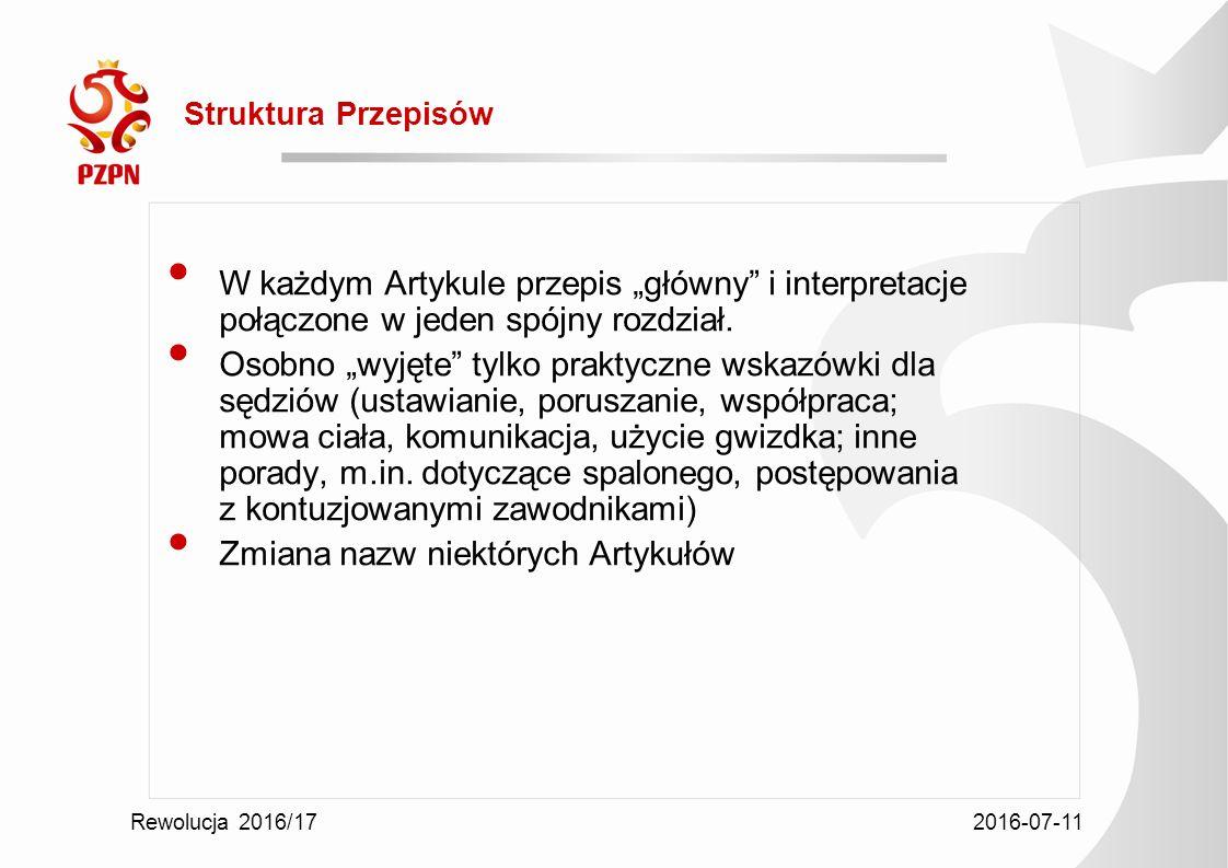 """2016-07-11 Rewolucja 2016/17 Struktura Przepisów W każdym Artykule przepis """"główny i interpretacje połączone w jeden spójny rozdział."""