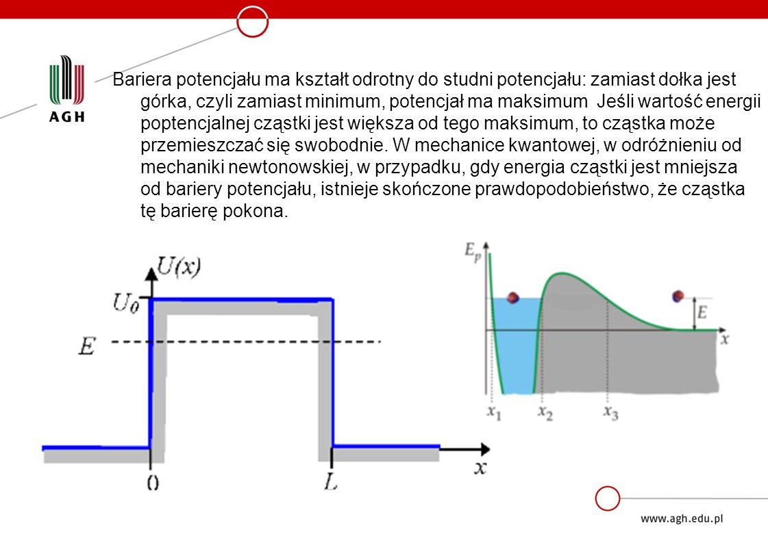 Współczynnik przenikania Prawdopodobieństwo przeniknięcia cząstki przez barierę potencjału równe jest ilorazowi kwadratów amplitud B i A i nazywany jest współczynnikiem przenikania lub współczynnikiem transmisji.