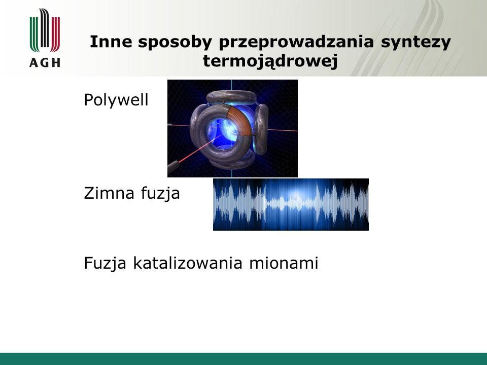 Inne sposoby przeprowadzania syntezy termojądrowej Polywell Zimna fuzja Fuzja katalizowania mionami
