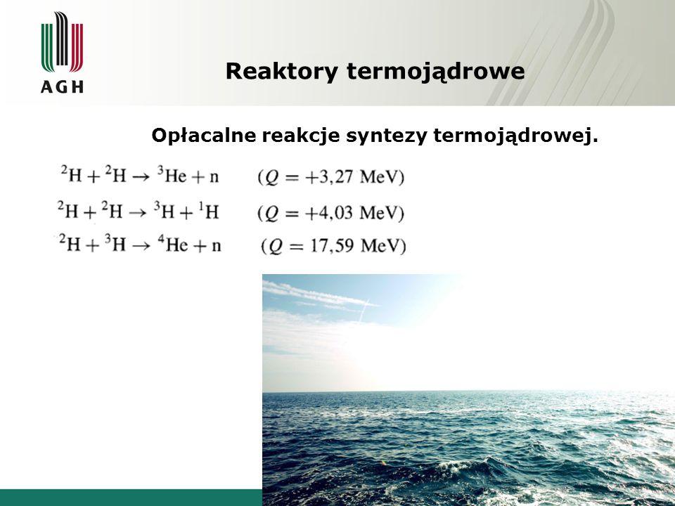 Reaktory termojądrowe Opłacalne reakcje syntezy termojądrowej.