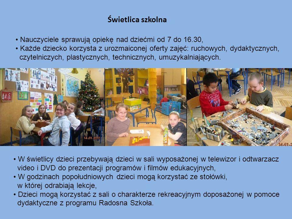 Świetlica szkolna Nauczyciele sprawują opiekę nad dziećmi od 7 do 16.30, Każde dziecko korzysta z urozmaiconej oferty zajęć: ruchowych, dydaktycznych,