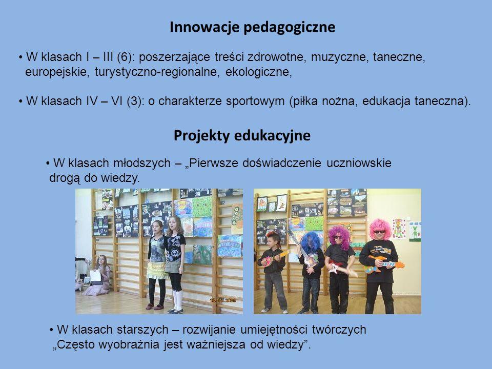 W klasach I – III (6): poszerzające treści zdrowotne, muzyczne, taneczne, europejskie, turystyczno-regionalne, ekologiczne, W klasach IV – VI (3): o c