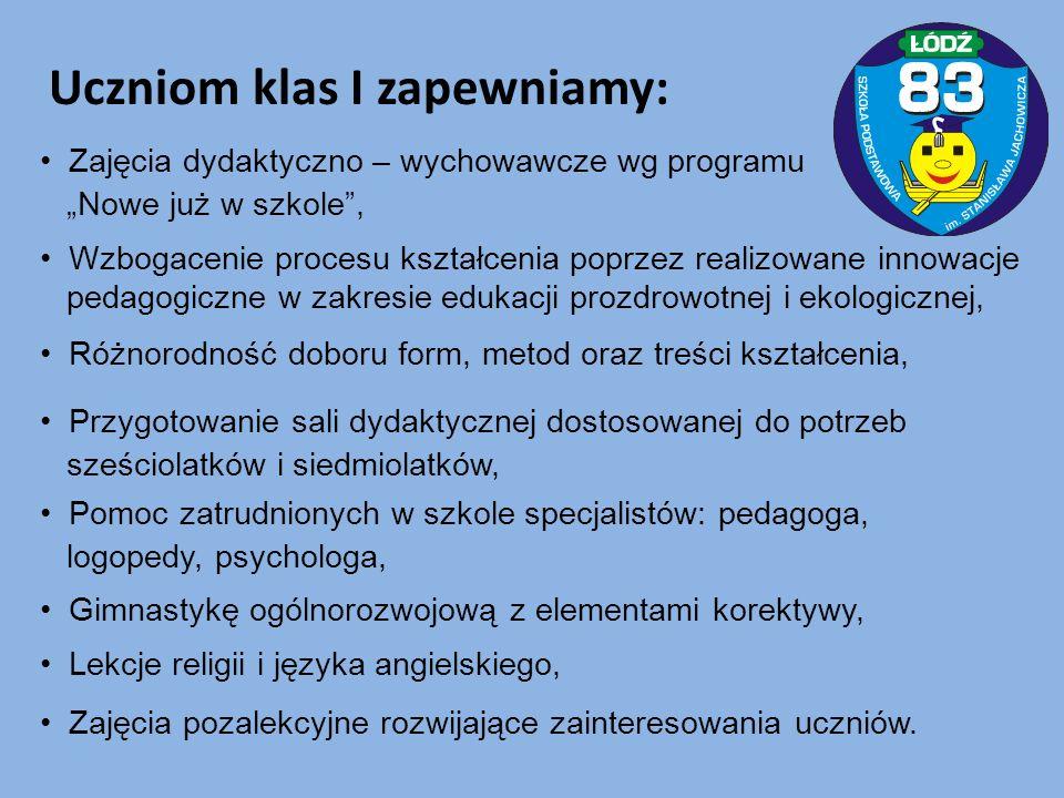 W klasach I – III (6): poszerzające treści zdrowotne, muzyczne, taneczne, europejskie, turystyczno-regionalne, ekologiczne, W klasach IV – VI (3): o charakterze sportowym (piłka nożna, edukacja taneczna).