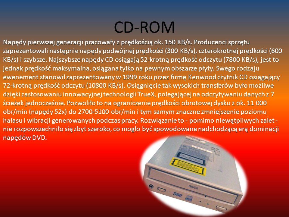CD-ROM Napędy pierwszej generacji pracowały z prędkością ok.