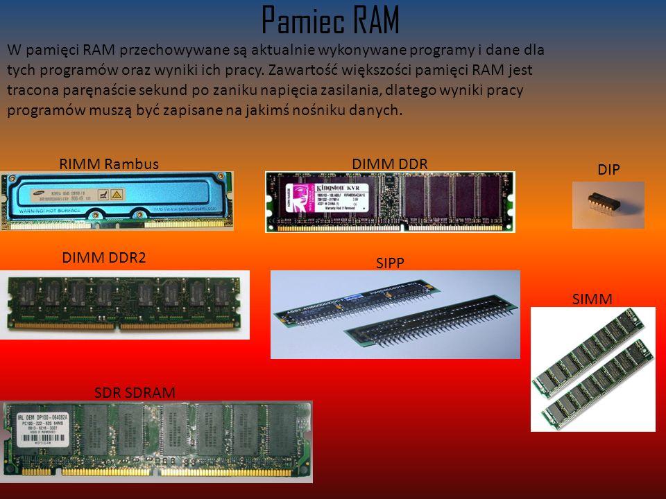 Pamiec RAM W pamięci RAM przechowywane są aktualnie wykonywane programy i dane dla tych programów oraz wyniki ich pracy.
