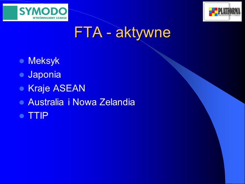 FTA - aktywne Meksyk Japonia Kraje ASEAN Australia i Nowa Zelandia TTIP