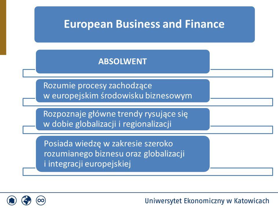 ABSOLWENT Rozumie procesy zachodzące w europejskim środowisku biznesowym Rozpoznaje główne trendy rysujące się w dobie globalizacji i regionalizacji Posiada wiedzę w zakresie szeroko rozumianego biznesu oraz globalizacji i integracji europejskiej European Business and Finance