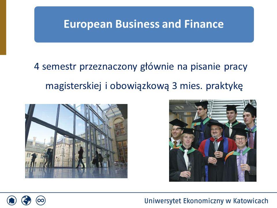 4 semestr przeznaczony głównie na pisanie pracy magisterskiej i obowiązkową 3 mies. praktykę European Business and Finance