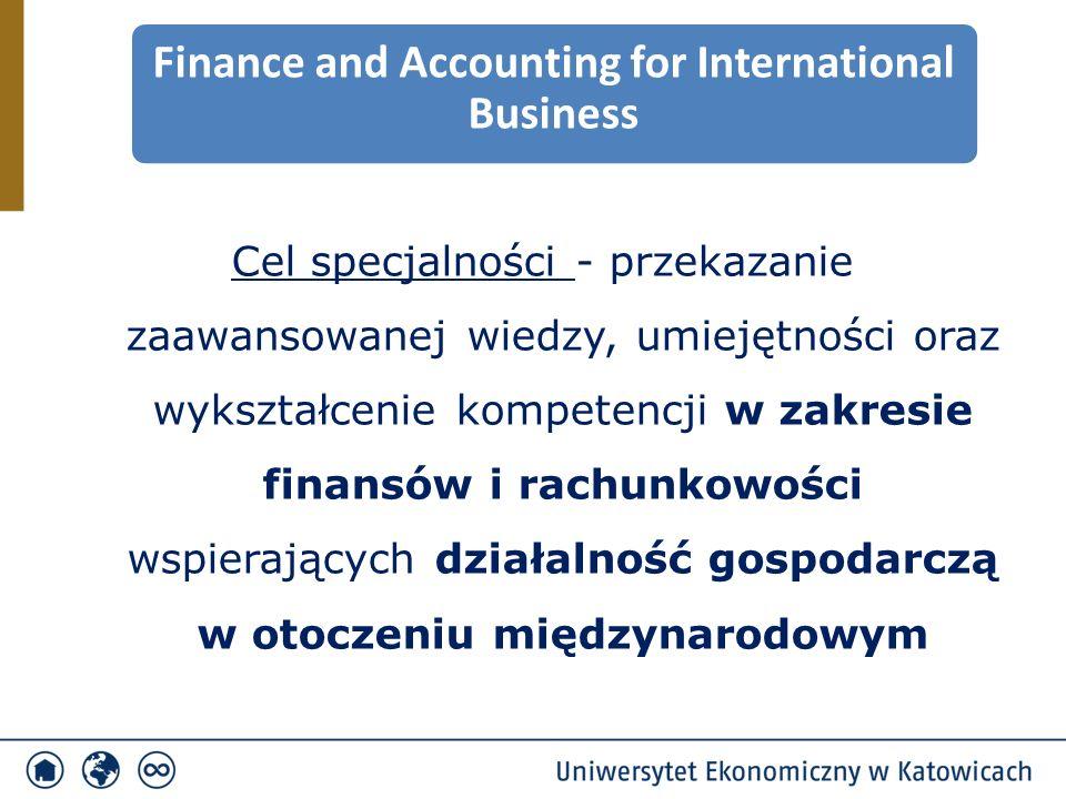 Cel specjalności - przekazanie zaawansowanej wiedzy, umiejętności oraz wykształcenie kompetencji w zakresie finansów i rachunkowości wspierających działalność gospodarczą w otoczeniu międzynarodowym Finance and Accounting for International Business
