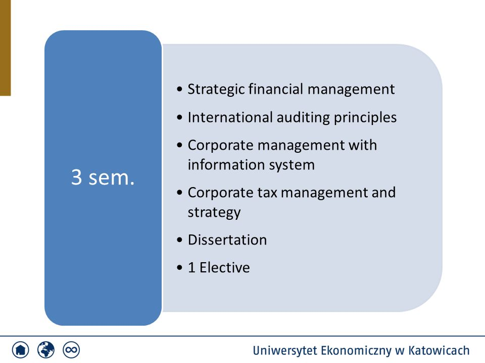 Strategic financial management International auditing principles Corporate management with information system Corporate tax management and strategy Di