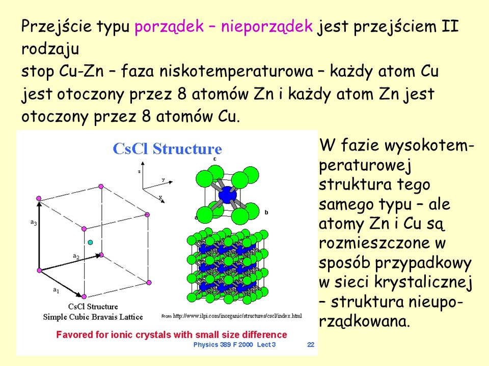 Przejście typu porządek – nieporządek jest przejściem II rodzaju stop Cu-Zn – faza niskotemperaturowa – każdy atom Cu jest otoczony przez 8 atomów Zn i każdy atom Zn jest otoczony przez 8 atomów Cu.