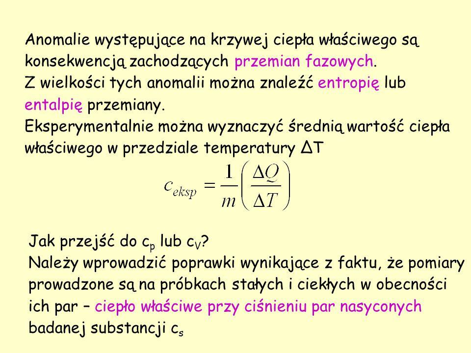 W przypadku zdecydowanej większości ciał stałych różnice pomiędzy c s a c p są pomijalnie małe.