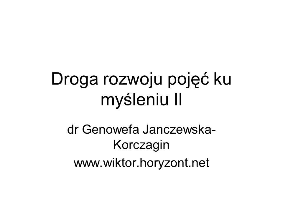 Droga rozwoju pojęć ku myśleniu II dr Genowefa Janczewska- Korczagin www.wiktor.horyzont.net