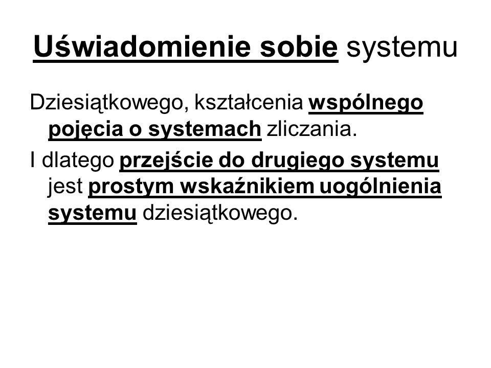 Uświadomienie sobie systemu Dziesiątkowego, kształcenia wspólnego pojęcia o systemach zliczania.
