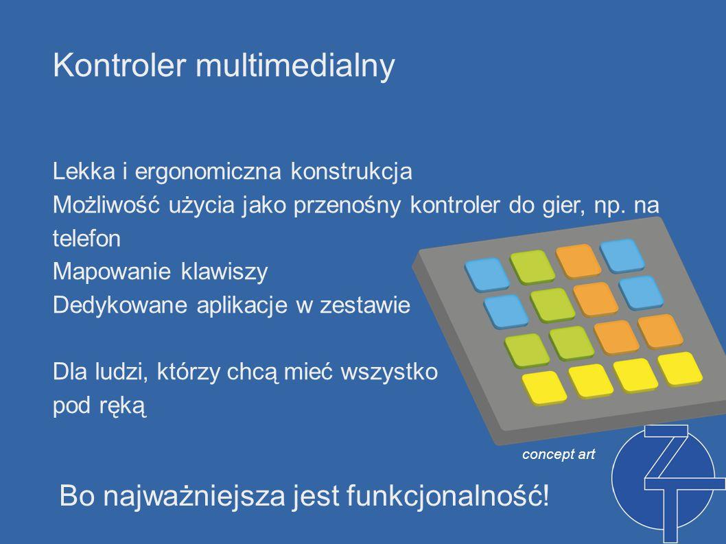 Kontroler multimedialny Lekka i ergonomiczna konstrukcja Możliwość użycia jako przenośny kontroler do gier, np. na telefon Mapowanie klawiszy Dedykowa
