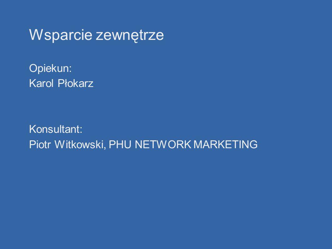 Wsparcie zewnętrze Opiekun: Karol Płokarz Konsultant: Piotr Witkowski, PHU NETWORK MARKETING