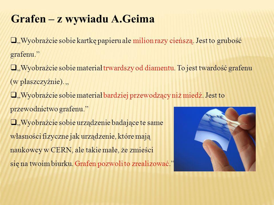 """Grafen – z wywiadu A.Geima  """"Wyobraźcie sobie kartkę papieru ale milion razy cieńszą."""