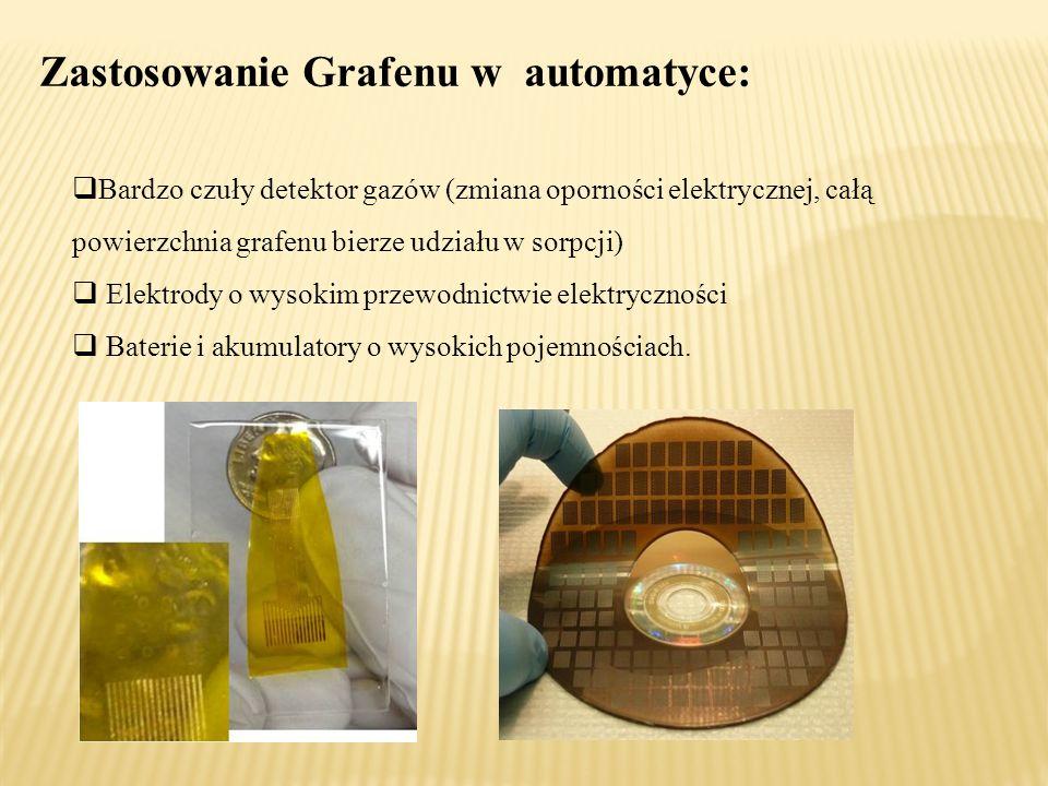 Zastosowanie Grafenu w automatyce:  Bardzo czuły detektor gazów (zmiana oporności elektrycznej, całą powierzchnia grafenu bierze udziału w sorpcji)  Elektrody o wysokim przewodnictwie elektryczności  Baterie i akumulatory o wysokich pojemnościach.