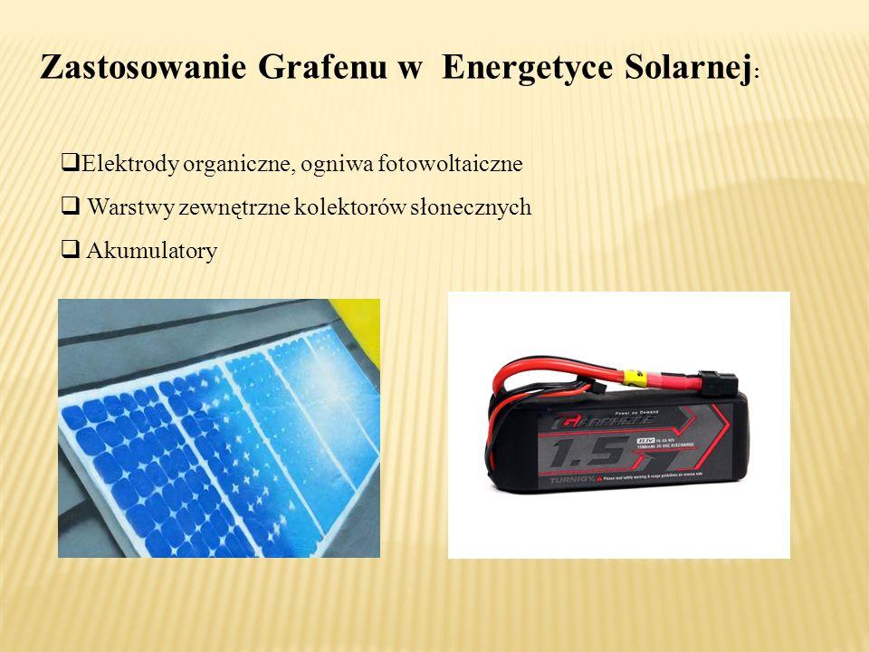 Zastosowanie Grafenu w Energetyce Solarnej :  Elektrody organiczne, ogniwa fotowoltaiczne  Warstwy zewnętrzne kolektorów słonecznych  Akumulatory