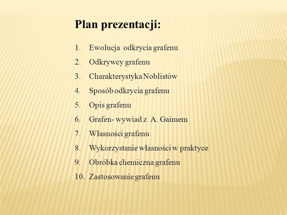 Plan prezentacji: 1.Ewolucja odkrycia grafenu 2.Odkrywcy grafenu 3.Charakterystyka Noblistów 4.Sposób odkrycia grafenu 5.Opis grafenu 6.Grafen- wywiad