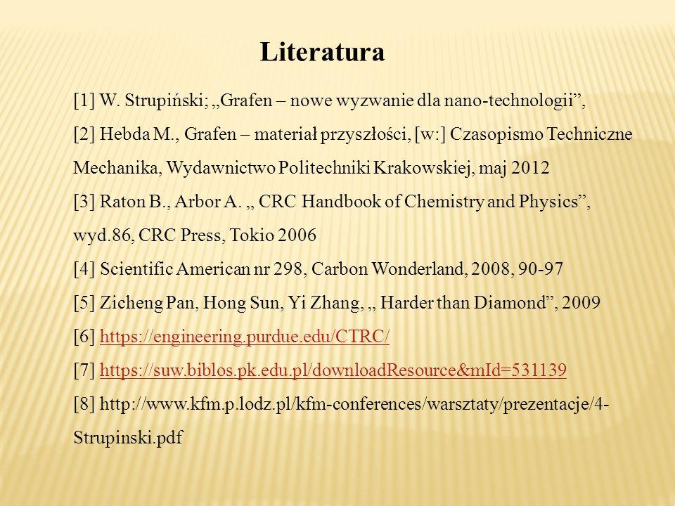 """Literatura [1] W. Strupiński; """"Grafen – nowe wyzwanie dla nano-technologii"""", [2] Hebda M., Grafen – materiał przyszłości, [w:] Czasopismo Techniczne M"""