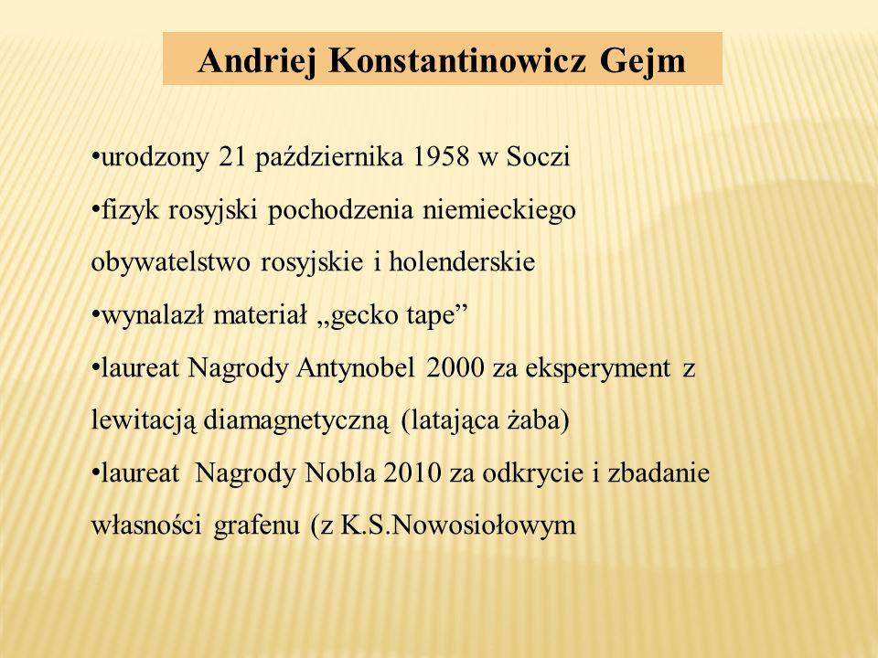 Andriej Konstantinowicz Gejm urodzony 21 października 1958 w Soczi fizyk rosyjski pochodzenia niemieckiego obywatelstwo rosyjskie i holenderskie wynal