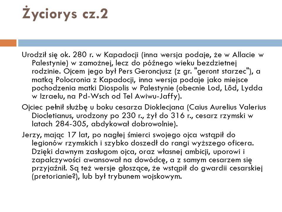 Życiorys cz.2 Urodził się ok. 280 r. w Kapadocji (inna wersja podaje, że w Allacie w Palestynie) w zamożnej, lecz do późnego wieku bezdzietnej rodzini