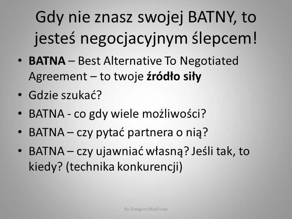 Gdy nie znasz swojej BATNY, to jesteś negocjacyjnym ślepcem.