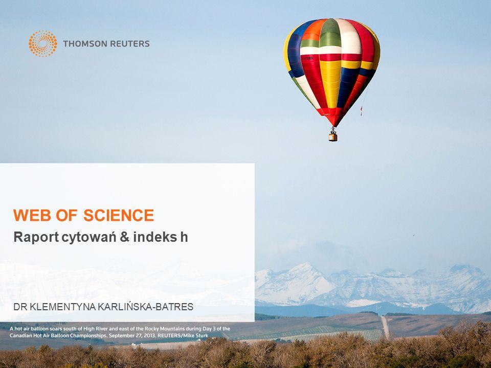 Raport cytowań & indeks h DR KLEMENTYNA KARLIŃSKA-BATRES WEB OF SCIENCE