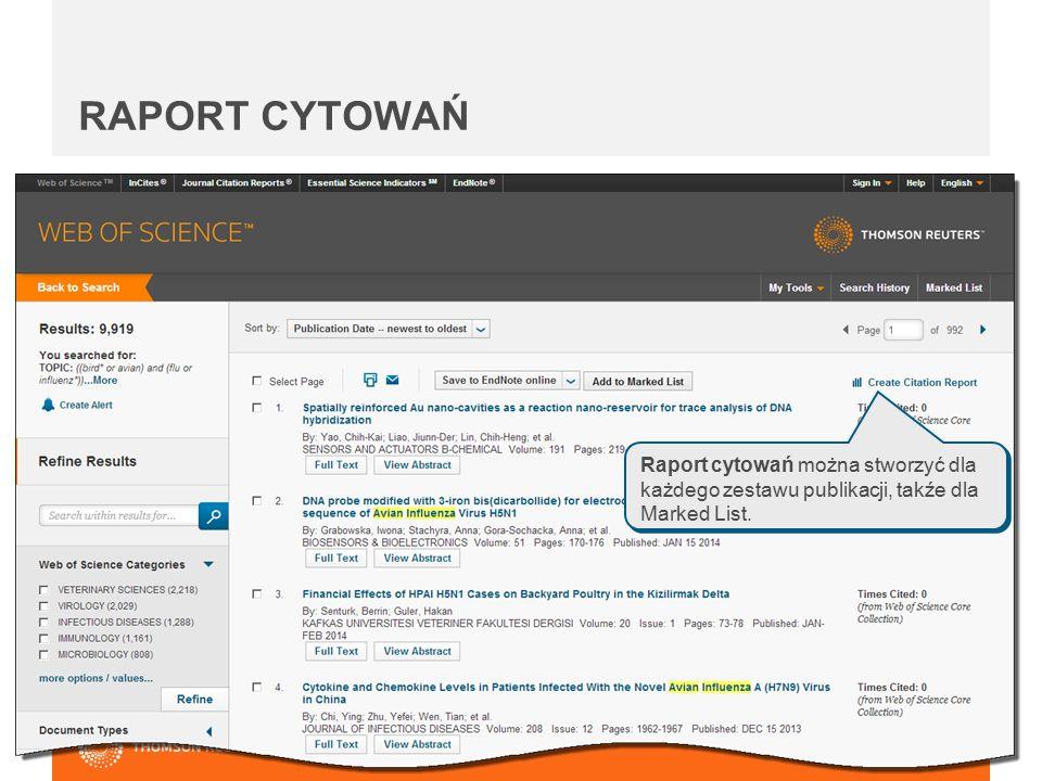 Raport cytowań można stworzyć dla każdego zestawu publikacji, takźe dla Marked List. RAPORT CYTOWAŃ