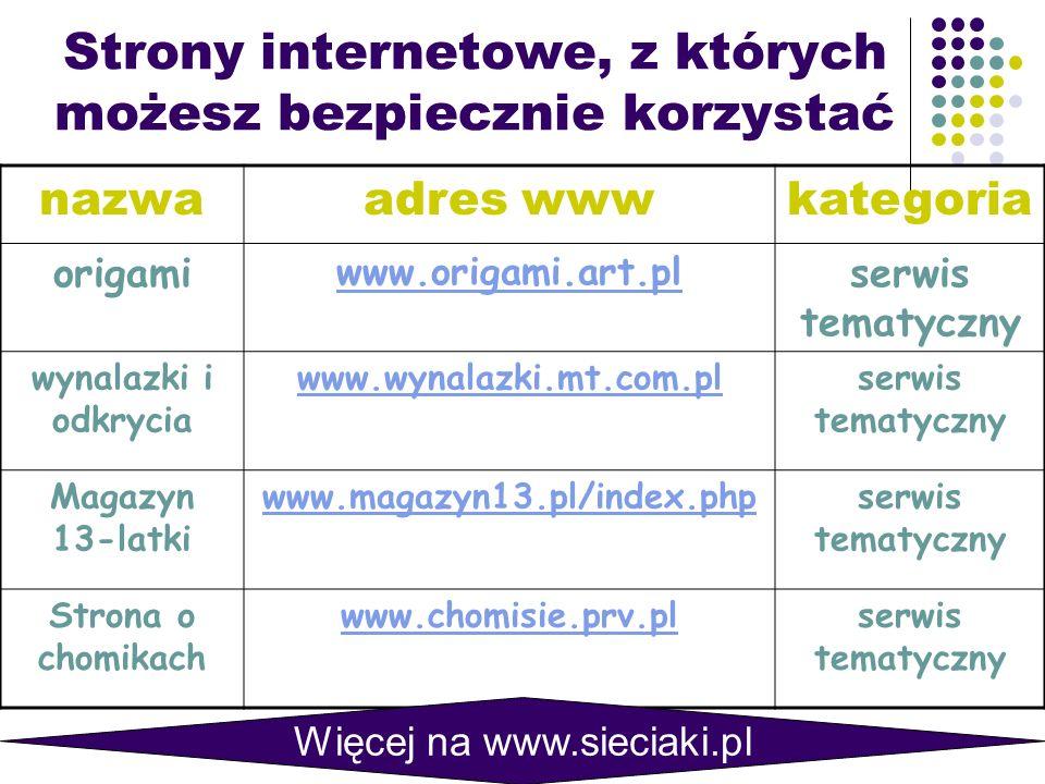 Strony internetowe, z których możesz bezpiecznie korzystać nazwaadres wwwkategoria origami www.origami.art.pl serwis tematyczny wynalazki i odkrycia www.wynalazki.mt.com.plserwis tematyczny Magazyn 13-latki www.magazyn13.pl/index.phpserwis tematyczny Strona o chomikach www.chomisie.prv.plserwis tematyczny Więcej na www.sieciaki.pl