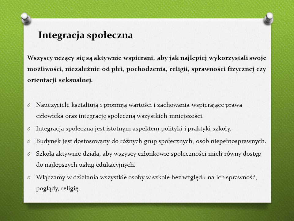 Integracja społeczna Wszyscy uczący się są aktywnie wspierani, aby jak najlepiej wykorzystali swoje możliwości, niezależnie od płci, pochodzenia, reli